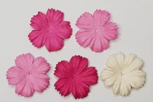 100 x 2.5 cm PINK SHADE DAISIES Petals Mulberry Paper Flowers (5 colours)
